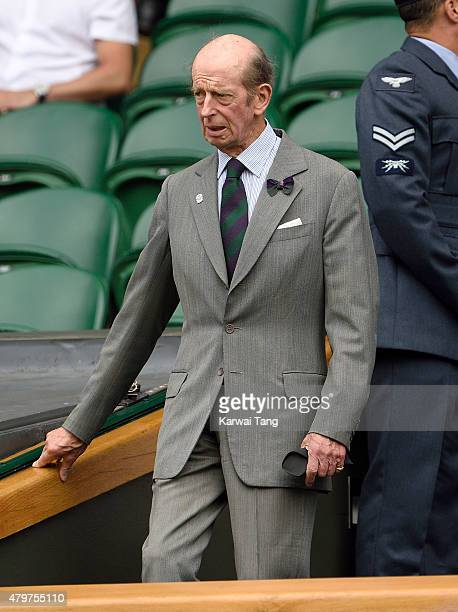Prince Edward Duke of Kent attends day seven of the Wimbledon Tennis Championships at Wimbledon on July 6 2015 in London England