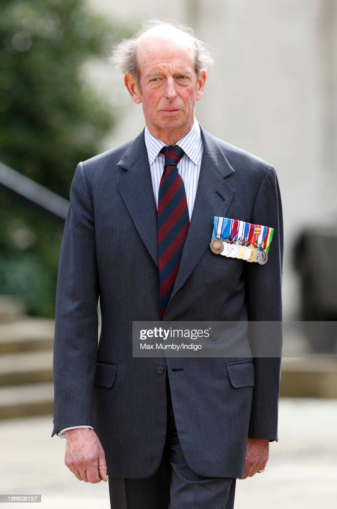 Prince Edward, Duke of Kent (in his role as Colonel) attends the Scots Guards Regimental Remembrance Sunday Service at the Guards Chapel, Wellington Barracks on April 14, 2013 in London, England. Today's engagement marks a return to Royal duties for The Duke of Kent after he suffered a stroke at the end of March.