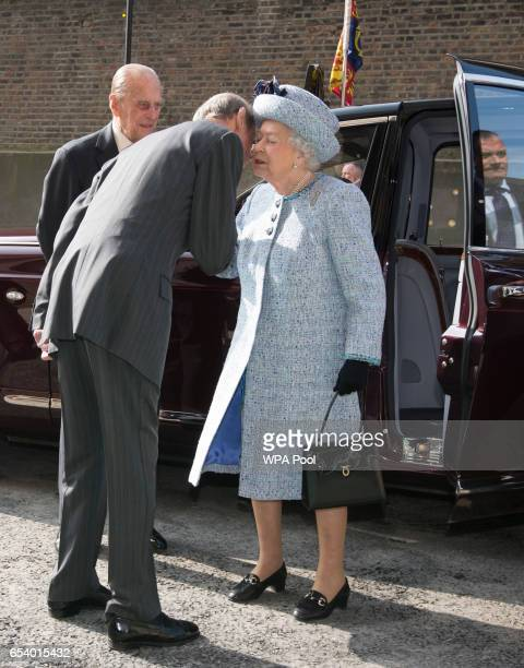 Prince Edward Duke of Kent greets Queen Elizabeth II at the official reopening the The National Army Museum on March 16 2017 in London England The...