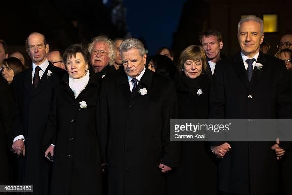 Prince Edward Duke of Kent Helma Orosz Major of Dresden German President Joachim Gauck Daniela Schadt and Stanislav Tillich Governeuer of Saxony hold...