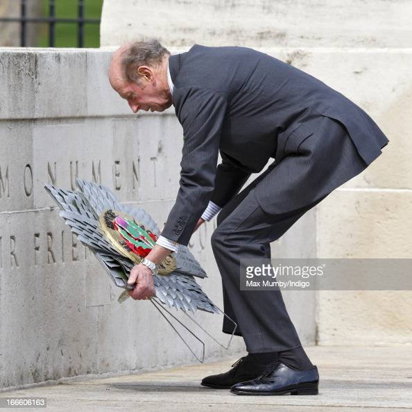 Prince Edward Duke of Kent lays a wreath at the Guards Memorial Horse Guards Parade after attending the Scots Guards Regimental Remembrance Sunday...