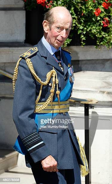 Prince Edward Duke of Kent leaves the RAF Club after attending a reception to commemorate the 75th Anniversary of The Battle of Britain on July 10...