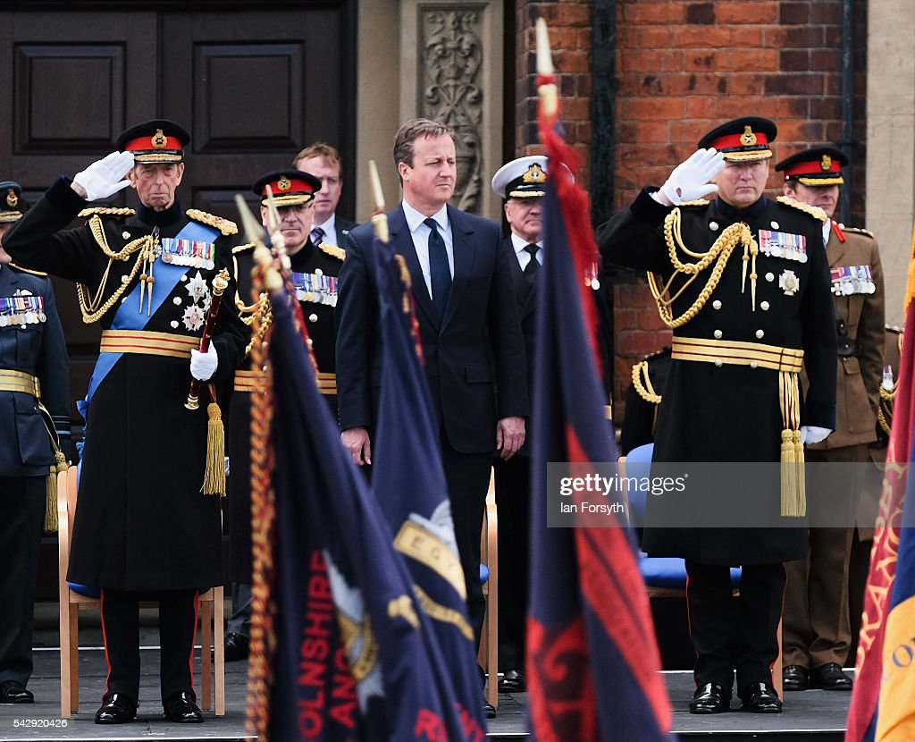 Prince Edward, Duke of Kent, Prime Minister David Cameron and General Sir Chris Deverell watch the main military parade during the Armed Forces Day National Event on June 25, 2016 in Cleethorpes, England. The visit by the Prime Minister came the day after the country voted to leave the European Union. Armed Forces Day is an annual event that gives an opportunity for the country to show its support for the men and women in the British Armed Forces.