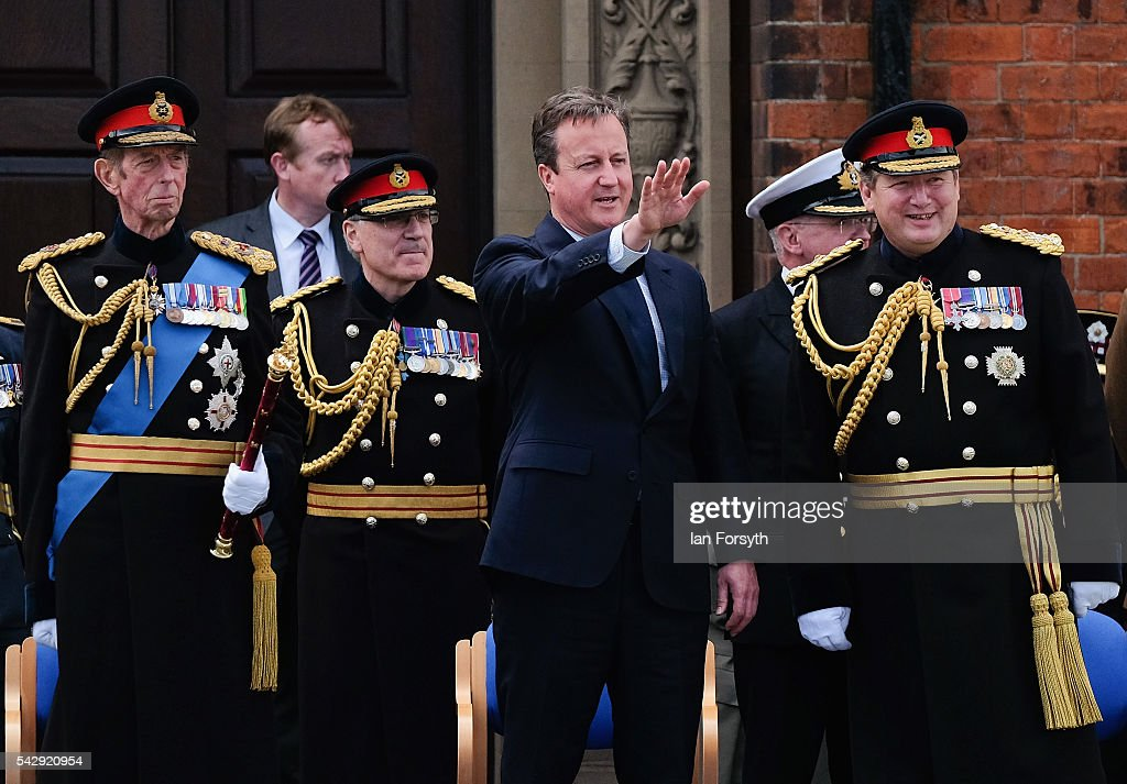 Prince Edward, Duke of Kent, Prime Minister David Cameron and General Sir Chris Deverell are joined by other dignataries as they take the salute during the main military parade during the Armed Forces Day National Event on June 25, 2016 in Cleethorpes, England. The visit by the Prime Minister came the day after the country voted to leave the European Union. Armed Forces Day is an annual event that gives an opportunity for the country to show its support for the men and women in the British Armed Forces.