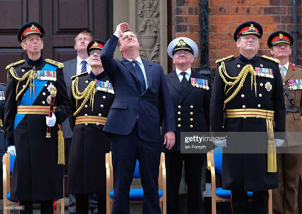 Prince Edward, Duke of Kent, Prime Minister David Cameron and General Sir Chris Deverell look up at a fast jet fly past during the main military parade during the Armed Forces Day National Event on June 25, 2016 in Cleethorpes, England. The visit by the Prime Minister came the day after the country voted to leave the European Union. Armed Forces Day is an annual event that gives an opportunity for the country to show its support for the men and women in the British Armed Forces.