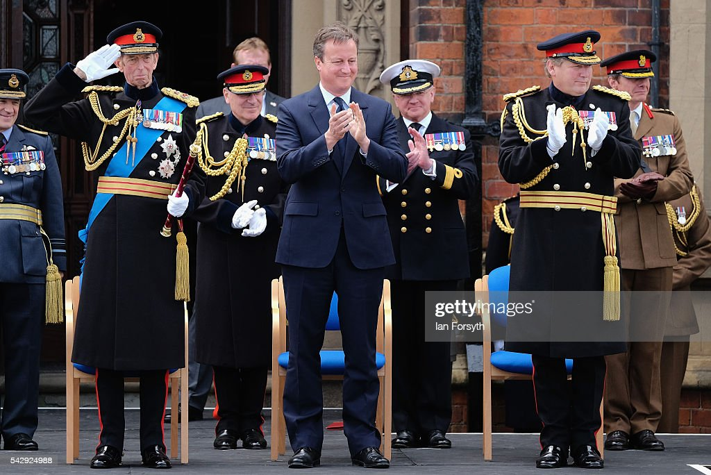 Prince Edward, Duke of Kent, Prime Minister David Cameron and General Sir Chris Deverell applaud as they watch the main military parade during the Armed Forces Day National Event on June 25, 2016 in Cleethorpes, England. The visit by the Prime Minister came the day after the country voted to leave the European Union. Armed Forces Day is an annual event that gives an opportunity for the country to show its support for the men and women in the British Armed Forces.