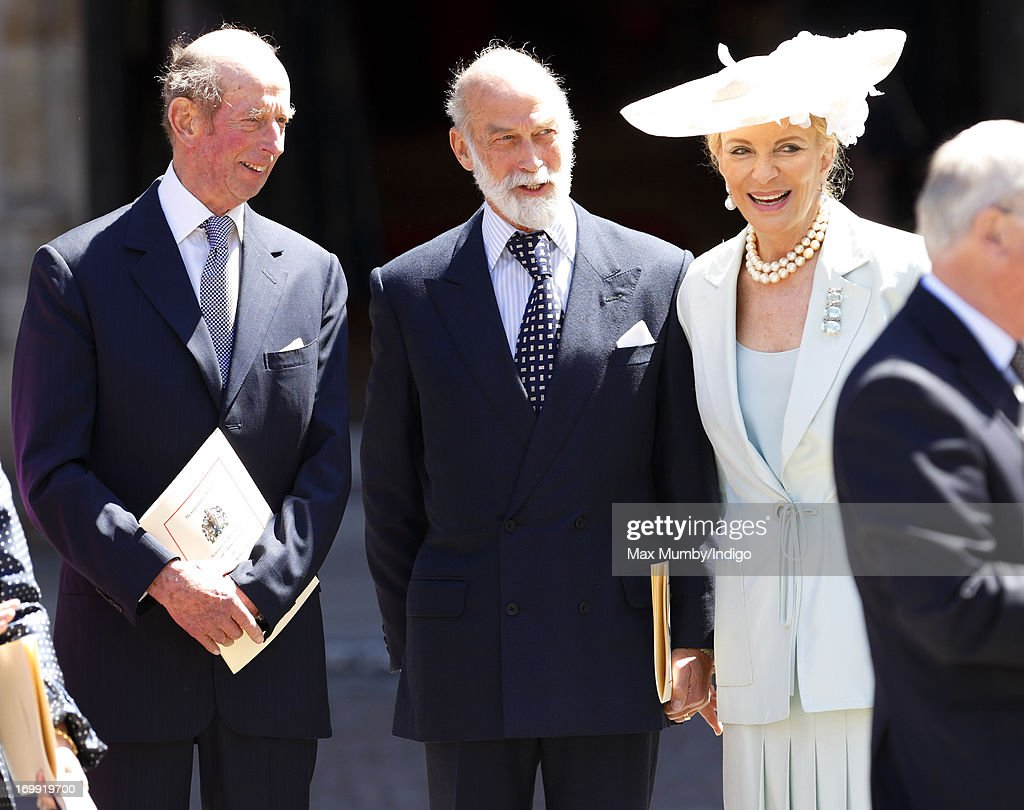 Prince Edward, Duke of Kent, Prince Michael of Kent and Princess Michael of Kent attend a service of celebration to mark the 60th anniversary of the Coronation of Queen Elizabeth II at Westminster Abbey on June 4, 2013 in London, England. The Queen's Coronation took place on June 2, 1953 after a period of mourning for her father King George VI, following her ascension to the throne on February 6, 1952. The event 60 years ago was the first time a coronation was televised for the public.