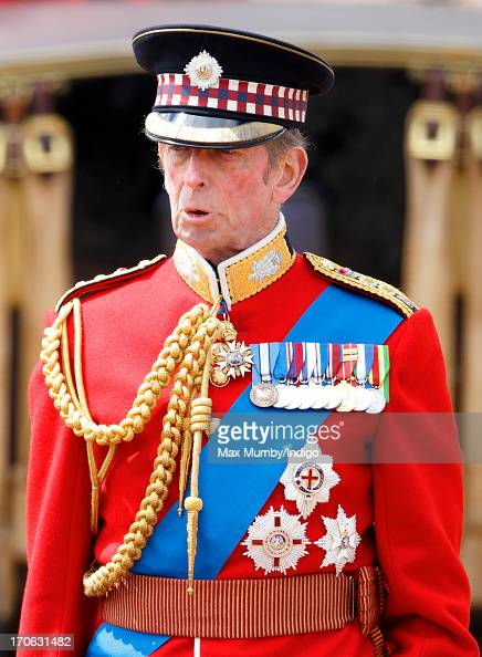 Prince Edward Duke of Kent stands on a dais outside Buckingham Palace during the annual Trooping the Colour Ceremony on June 15 2013 in London...