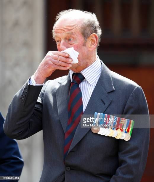 Prince Edward Duke of Kent takes the salute as he attends the Scots Guards Regimental Remembrance Sunday Parade Service at the Guards Chapel...