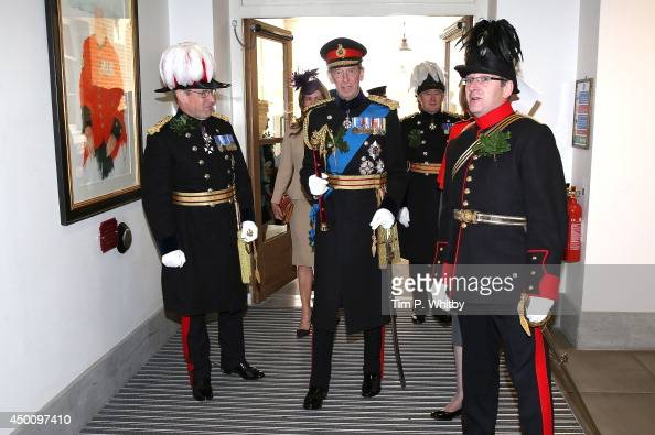 Prince Edward Duke of Kent visits the infirmary before attending the Founders Day Parade at Royal Hospital Chelsea on June 5 2014 in London England