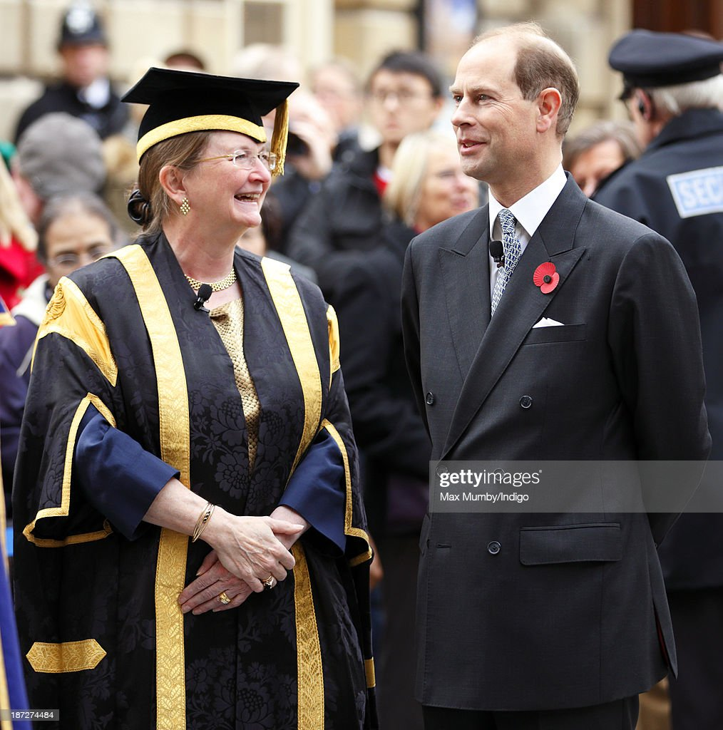 Prince Edward, Earl of Wessex accompanied by Professor Dame Glynis Breakwell (Vice-Chancellor of the University of Bath) arrives at Bath Abbey to attend a service during which he will be installed as Chancellor of the University of Bath on November 7, 2013 in Bath, England.