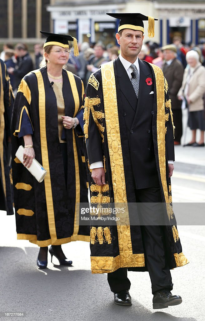 Prince Edward, Earl of Wessex accompanied by Professor Dame Glynis Breakwell (Vice-Chancellor of the University of Bath) takes part in a procession after being installed as Chancellor of the University of Bath during a service at Bath Abbey on November 7, 2013 in Bath, England.