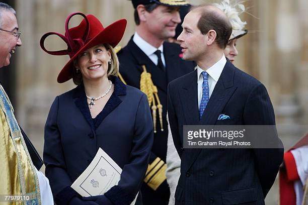 Prince Edward Earl of Wessex and his pregnant wife Sophie Countess of Wessex attend a service of thanksgiving at Westminster Abbey to celebrate the...
