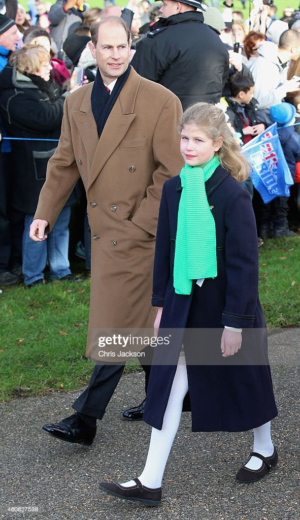 Prince Edward Earl of Wessex and Lady Louise Windor attend the Christmas Day Service at Sandringham Church on December 25 2014 in King's Lynn England