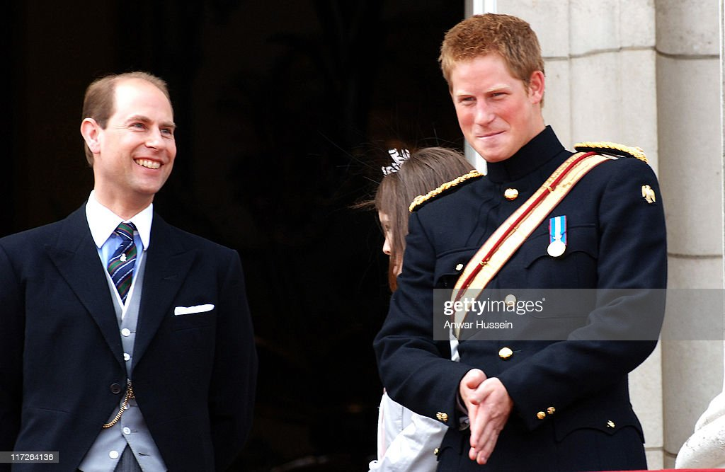<a gi-track='captionPersonalityLinkClicked' href=/galleries/search?phrase=Prince+Edward+-+Earl+of+Wessex&family=editorial&specificpeople=160185 ng-click='$event.stopPropagation()'>Prince Edward</a>, Earl of Wessex and <a gi-track='captionPersonalityLinkClicked' href=/galleries/search?phrase=Prince+Harry&family=editorial&specificpeople=178173 ng-click='$event.stopPropagation()'>Prince Harry</a> smile on the balcony of Buckingham Palace following the Trooping the Colour ceremony on June 17, 2006.