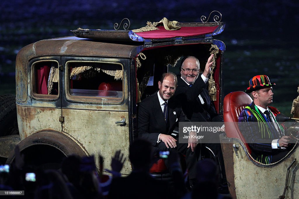 Prince Edward, Earl of Wessex (L) and Sir Philip Craven, the President of the International Paralympic Committee arrive at the Olympic Stadium during the Closing Ceremony on Day 11 of the London 2012 Paralympics on September 9, 2012 in London, England.