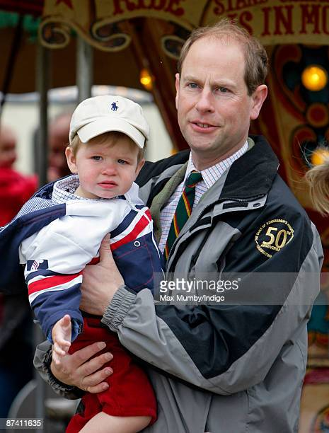 Prince Edward Earl of Wessex and son James Viscount Severn attend day 5 of the Royal Windsor Horse Show on May 16 2009 in Windsor England