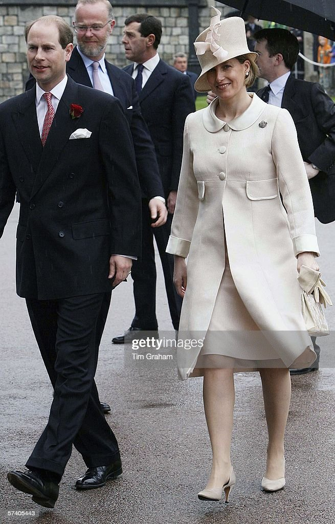 Prince Edward Earl of Wessex and Sophie Countess of Wessex arrive at St George's Chapel Windsor Castle for Thanksgiving Service for the Queen's 80th Birthday on Apr23, 2006 in Windsor, England.