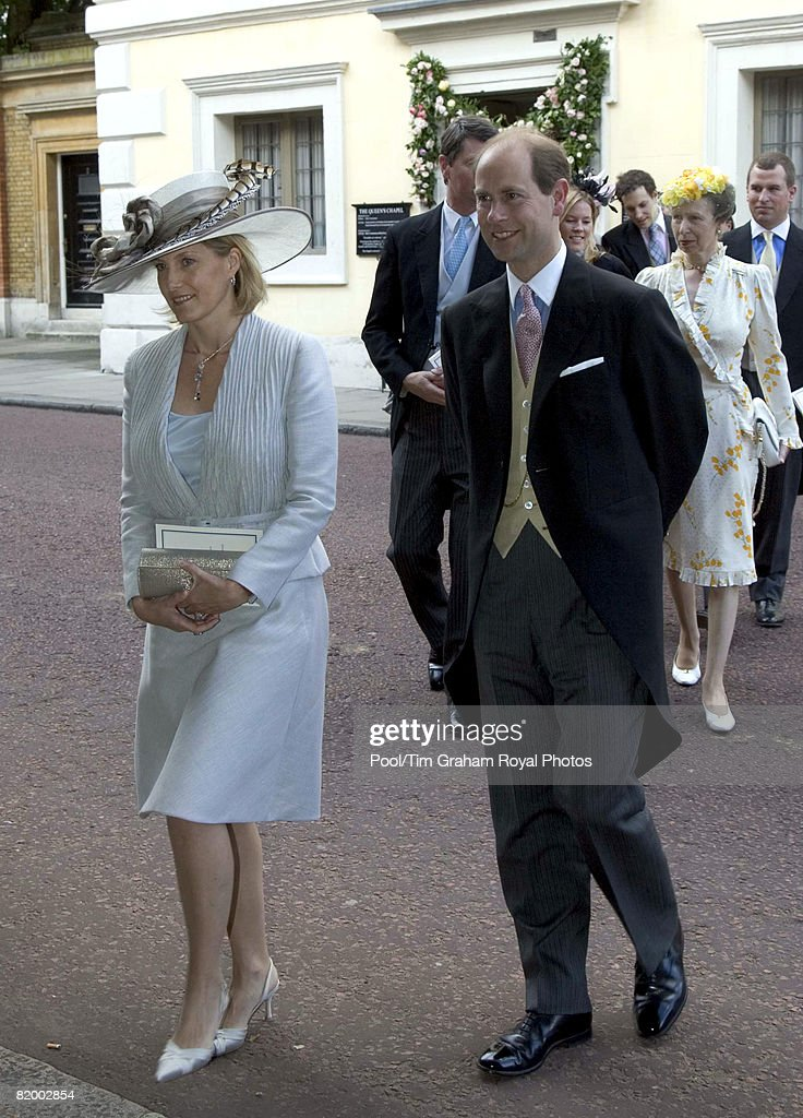 Prince Edward Earl of Wessex and Sophie Countess of Wessex attend the wedding of Lady Rose Windsor and George Gilman at the Queen's Chapel near St James's Palace on July 19, 2008 in London, England.