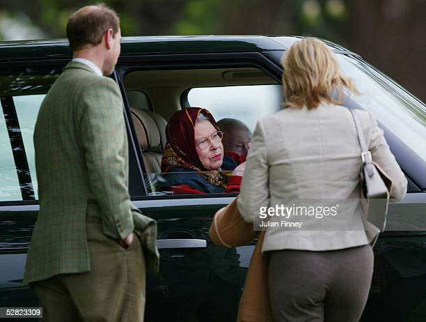 Prince Edward Earl of Wessex and Sophie Countess of Wessex have a chat with Queen Elizabeth II during the Royal Windsor Horse Show at Home Park...