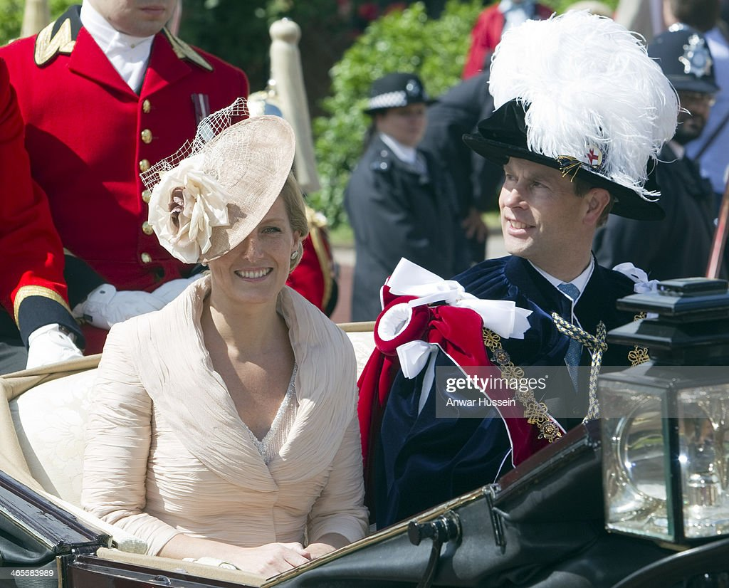 Prince Edward, Earl of Wessex and Sophie, Countess of Wessex leave The Order of the Garter Service at St. George's Chapel in an open carriage on June 18, 2012 in Windsor, England.