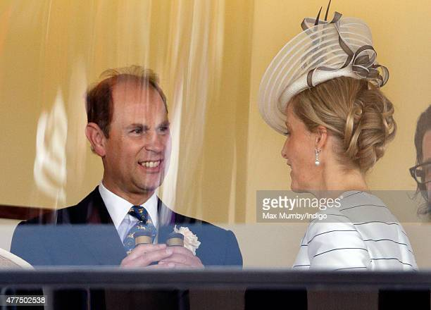 Prince Edward Earl of Wessex and Sophie Countess of Wessex watch the racing as they attend day 2 of Royal Ascot at Ascot Racecourse on June 17 2015...