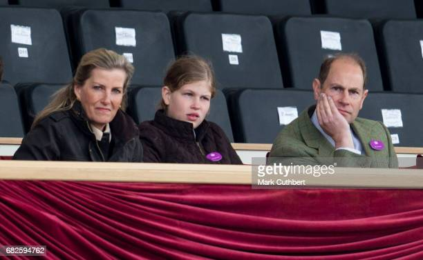 Prince Edward Earl of Wessex and Sophie Countess of Wessex with Lady Louise Windsor watching a horse display in the main arena during the Windsor...