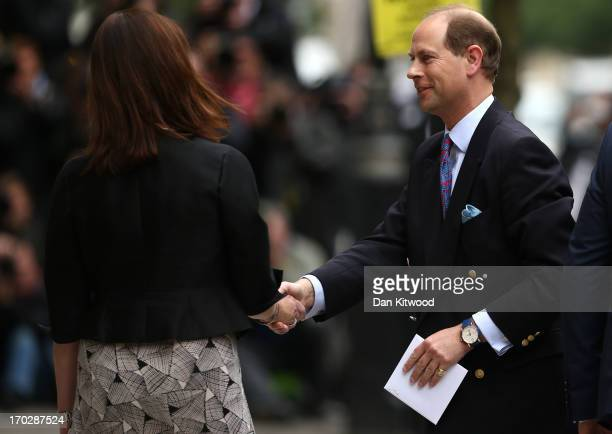 Prince Edward Earl of Wessex arrives to visit Prince Philip the Duke of Edinburgh as he celebrates his 92nd birthday in a London Clinic on June 10...