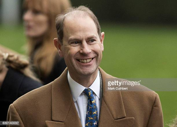 Prince Edward Earl of Wessex attends the Christmas Racing Weekend at Ascot Racecourse on December 17 2016 in Ascot England