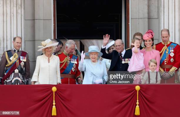 Prince Edward Earl of Wessex Camilla Duchess of Cornwall Prince Charles Prince of Wales Queen Elizabeth II Princess Beatrice of York Prince Philip...