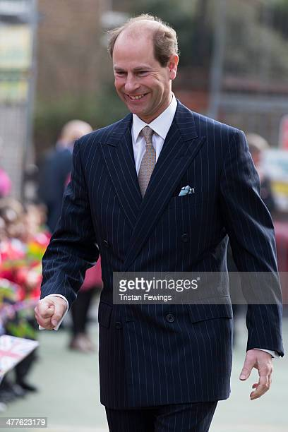 Prince Edward Earl of Wessex during an official visit on the Earl's 50th Birthday at Robert Browning Primary School on March 10 2014 in London England