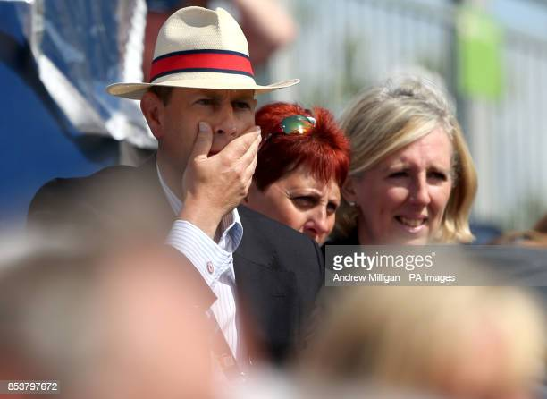 Prince Edward Earl of Wessex in the stands watching bowls at Kelvingrove Lawn Bowls Centre during the 2014 Commonwealth Games in Glasgow