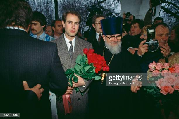 Prince Edward Earl of Wessex is ushered through the crowds during a visit to Moscow 19th April 1989