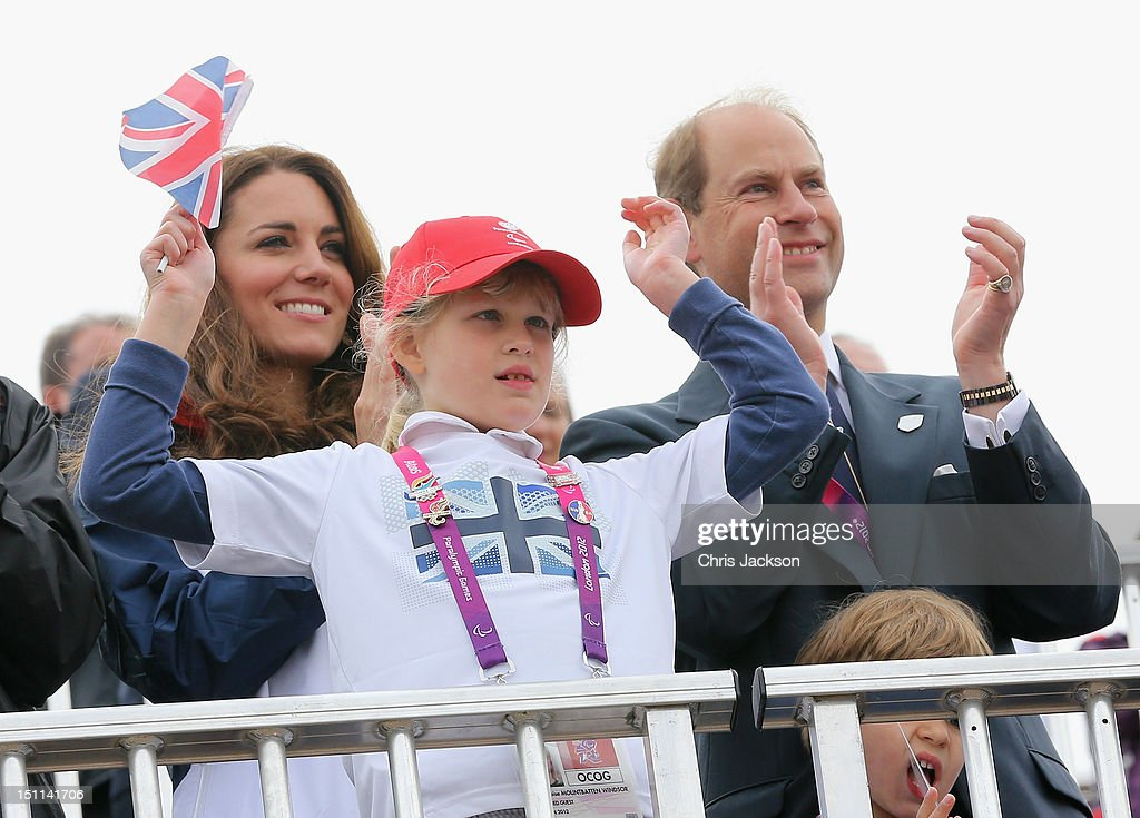 Prince Edward, Earl of Wessex, Lady Louise Windsor and Catherine, Duchess of Cambridge watch Great Britain Mixed Coxed Four Rowing - LTAMix4+ team celebrate after winning gold on day 4 of the London 2012 Paralympic Games at Eton Dorney on September 2, 2012 in Windsor, England.