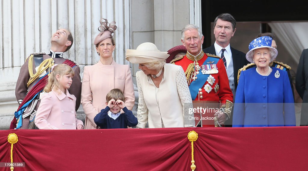 Prince Edward, Earl of Wessex, Lady Louise Windsor, James Viscount Severn, Sophie, Countess of Wessex, Camilla, Duchess of Cornwall, Prince Charles, Prince of Wales, Sir Timothy Laurence, Princess Anne, Princess Royal and Queen Elizabeth II stand on the balcony at Buckingham Palace during the annual Trooping the Colour Ceremony on June 15, 2013 in London, England. Today's ceremony which marks the Queens official birthday will not be attended by Prince Philip the Duke of Edinburgh as he recuperates from abdominal surgery and will also be The Duchess of Cambridge's last public engagement before her baby is due to be born next month.