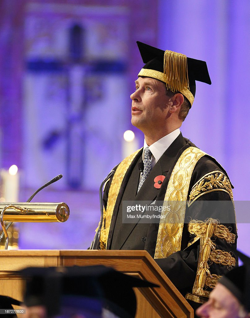 Prince Edward, Earl of Wessex makes a speech during a service at Bath Abbey at which he was installed as Chancellor of the University of Bath on November 7, 2013 in Bath, England.