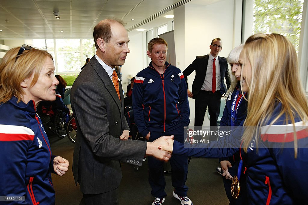 Prince Edward, Earl of Wessex meets ParalympicsGB athlete <a gi-track='captionPersonalityLinkClicked' href=/galleries/search?phrase=Charlotte+Evans&family=editorial&specificpeople=8063381 ng-click='$event.stopPropagation()'>Charlotte Evans</a> at a gathering to celebrate their performances at the Sochi 2014 Winter Paralympics at the British Paralympics Association headquarters in London, England on April 29, 2014.