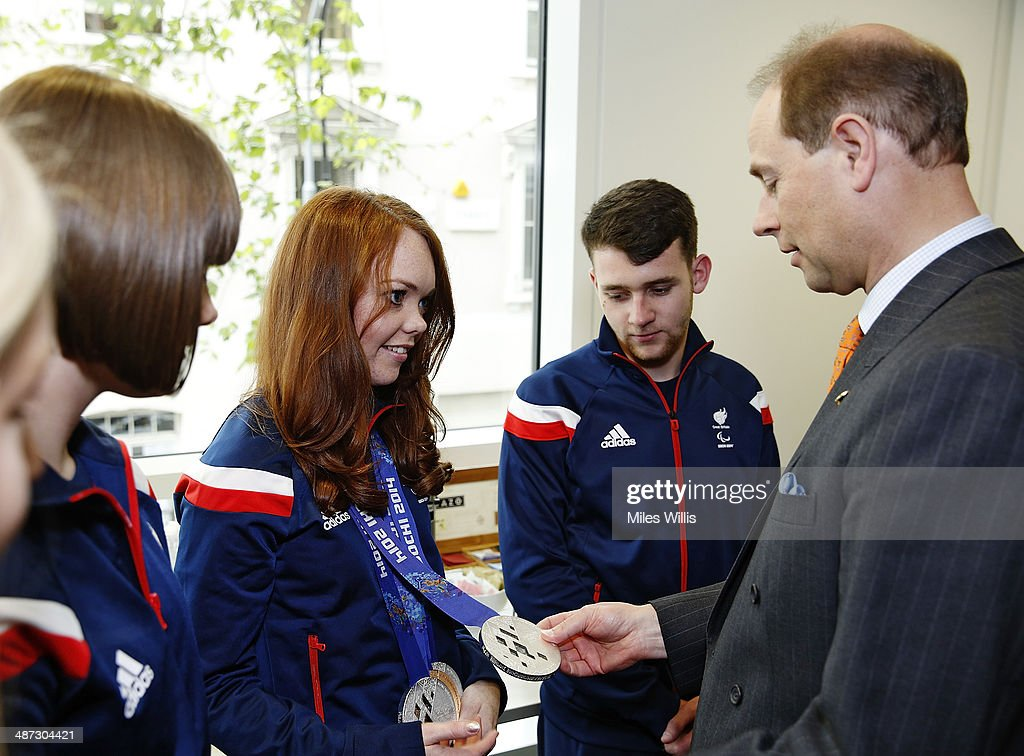 Prince Edward, Earl of Wessex meets ParalympicsGB athlete <a gi-track='captionPersonalityLinkClicked' href=/galleries/search?phrase=Jade+Etherington&family=editorial&specificpeople=11272660 ng-click='$event.stopPropagation()'>Jade Etherington</a> at a gathering to celebrate their performances at the Sochi 2014 Winter Paralympics at the British Paralympics Association headquarters in London, England on April 29, 2014.