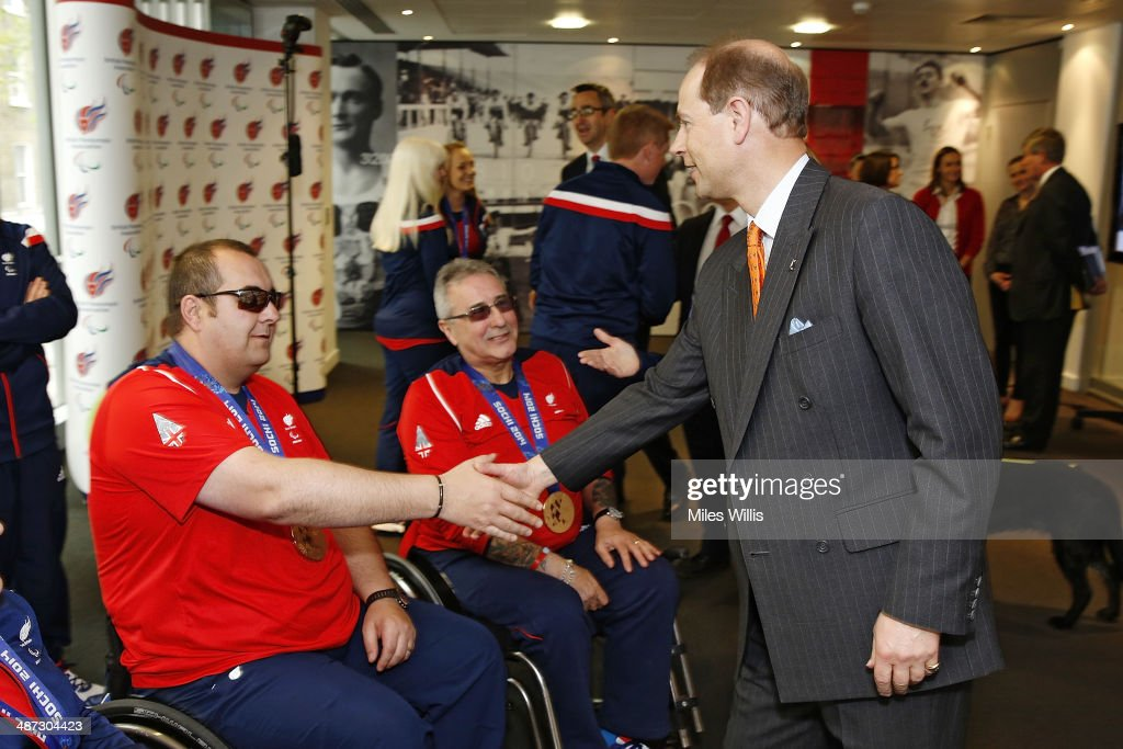 Prince Edward, Earl of Wessex meets ParalympicsGB curling athlete <a gi-track='captionPersonalityLinkClicked' href=/galleries/search?phrase=Gregor+Ewan&family=editorial&specificpeople=11307568 ng-click='$event.stopPropagation()'>Gregor Ewan</a> at a gathering to celebrate their performances at the Sochi 2014 Winter Paralympics at the British Paralympics Association headquarters in London, England on April 29, 2014.