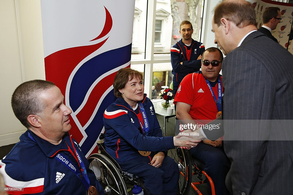 Prince Edward, Earl of Wessex meets ParalympicsGB curling athlete Aileen Neilson at a gathering to celebrate their performances at the Sochi 2014 Winter Paralympics at the British Paralympics Association headquarters in London, England on April 29, 2014.