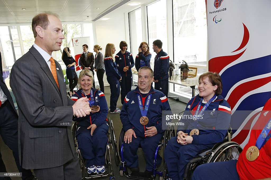 Prince Edward, Earl of Wessex meets ParalympicsGB curling athletes (L-R) Angela Malone, Robert McPherson and <a gi-track='captionPersonalityLinkClicked' href=/galleries/search?phrase=Aileen+Neilson&family=editorial&specificpeople=6838426 ng-click='$event.stopPropagation()'>Aileen Neilson</a> at a gathering to celebrate their performances at the Sochi 2014 Winter Paralympics at the British Paralympics Association headquarters in London, England on April 29, 2014.