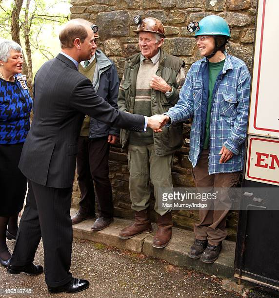 Prince Edward Earl of Wessex meets the Wright family owners of Clearwell Caves during a visit on a day of engagements in Gloucestershire on April 24...