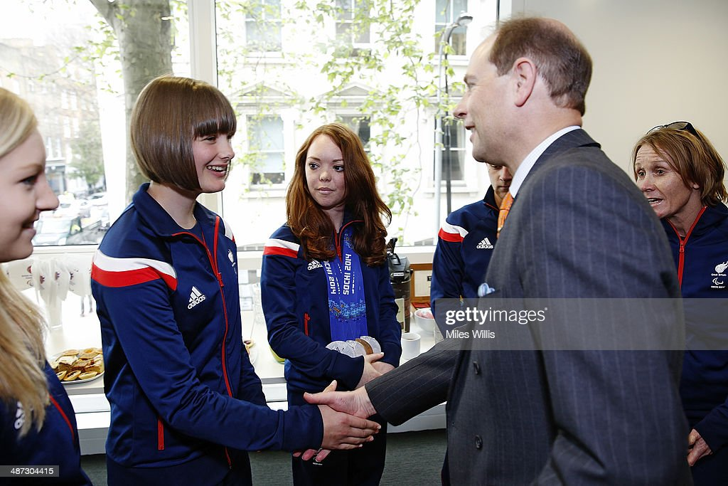 Prince Edward, Earl of Wessex meets with ParalympicsGB athlete <a gi-track='captionPersonalityLinkClicked' href=/galleries/search?phrase=Millie+Knight&family=editorial&specificpeople=12423053 ng-click='$event.stopPropagation()'>Millie Knight</a> at a gathering to celebrate their performances at the Sochi 2014 Winter Paralympics at the British Paralympics Association headquarters in London, England on April 29, 2014.