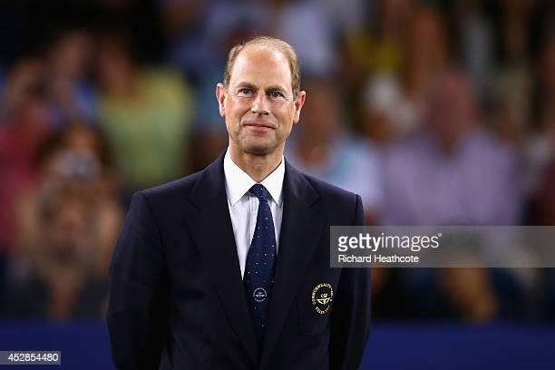 Prince Edward Earl of Wessex presents medals at the Badminton Mixed Teams finals at Emirates Arena during day five of the Glasgow 2014 Commonwealth...