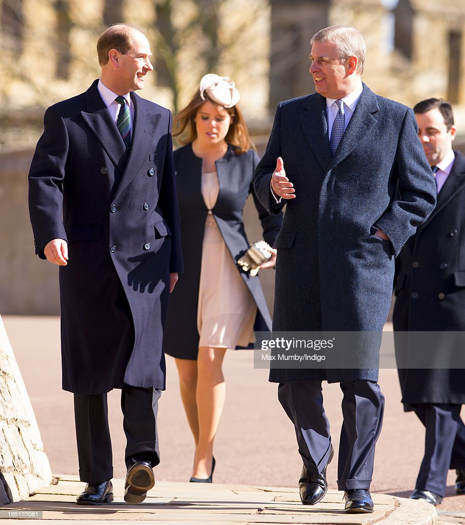 Prince Edward, Earl of Wessex, <a gi-track='captionPersonalityLinkClicked' href=/galleries/search?phrase=Princess+Eugenie&family=editorial&specificpeople=160237 ng-click='$event.stopPropagation()'>Princess Eugenie</a> and <a gi-track='captionPersonalityLinkClicked' href=/galleries/search?phrase=Prince+Andrew+-+Duke+of+York&family=editorial&specificpeople=160175 ng-click='$event.stopPropagation()'>Prince Andrew</a>, Duke of York attend the Easter Matins Church Service at St George's Chapel, Windsor Castle on March 31, 2013 in Windsor, England.