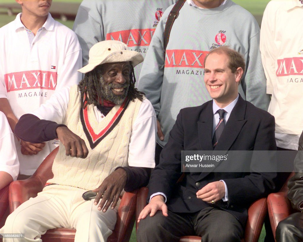 Prince Edward, Earl of Wessex sits with Ted Hayes, founder of the Homies and Popz cricket team from Los Angeles who were due to play against the Royal Household on September 29 1999 in Windsor, England.