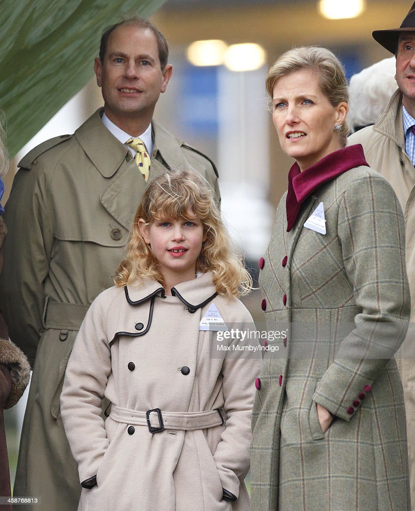 Prince Edward Earl of Wessex Sophie Countess of Wessex and their daughter Lady Louise Windsor watch the racing from the Parade Ring as they attend...
