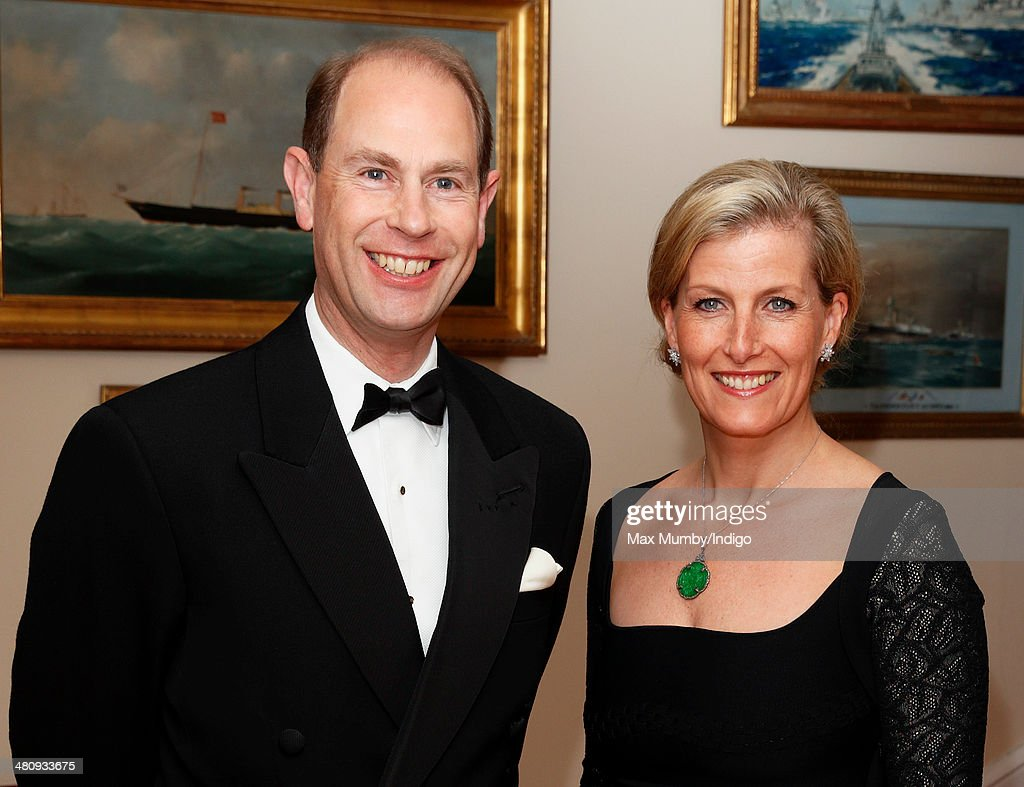 Prince Edward, Earl of Wessex & Sophie, Countess of Wessex attend a gala fundraising dinner, in aid of the Newport Minster Renewal Appeal, at the Royal Yacht Squadron during a day of engagements on the Isle of Wight on March 27, 2014 in Cowes, England.