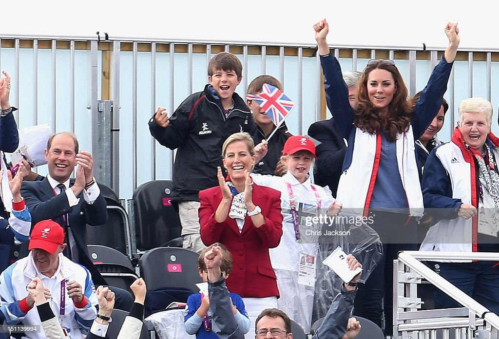 Prince Edward, Earl of Wessex, Sophie, Countess of Wessex, Lady Louise Windsor and Catherine, Duchess of Cambridge watches Great Britain Mixed Coxed Four Rowing - LTAMix4+ team celebrate after winning gold on day 4 of the London 2012 Paralympic Games at Eton Dorney on September 2, 2012 in Windsor, England.