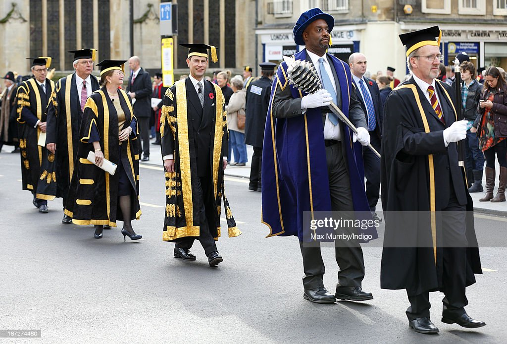 Prince Edward, Earl of Wessex (centre) takes part in a procession after being installed as Chancellor of the University of Bath during a service at Bath Abbey on November 7, 2013 in Bath, England.